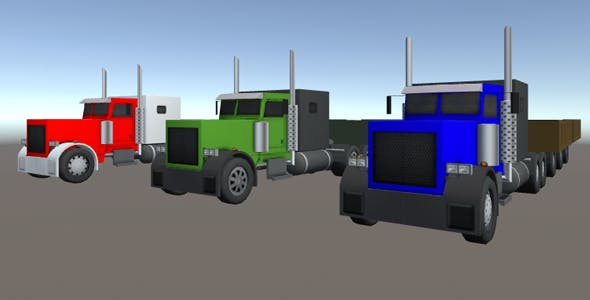 Industrial Long Truck Pack - 3DOcean Item for Sale