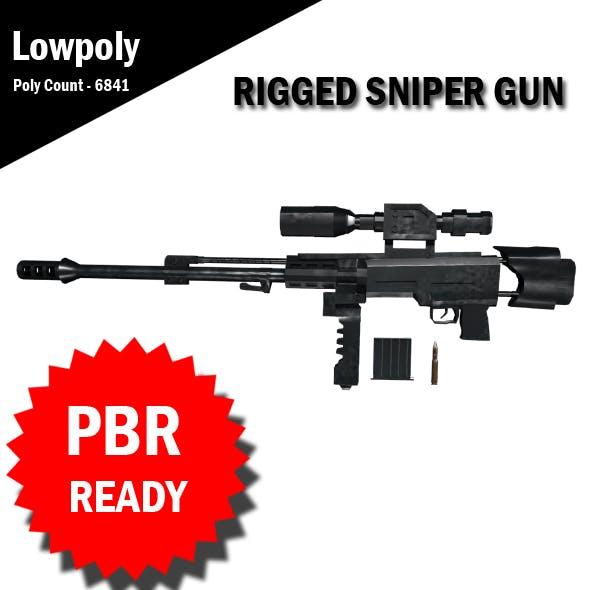 3D Sniper RIgged model VR / AR / low-poly 3d model