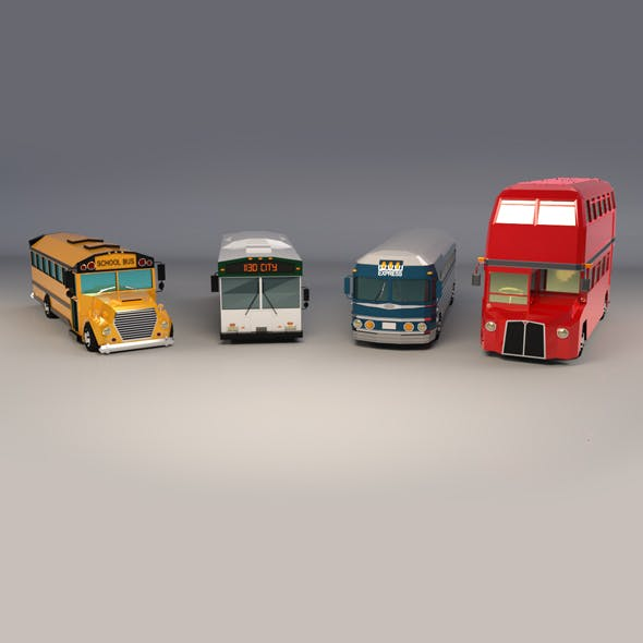 Low Poly Bus Pack - 3DOcean Item for Sale