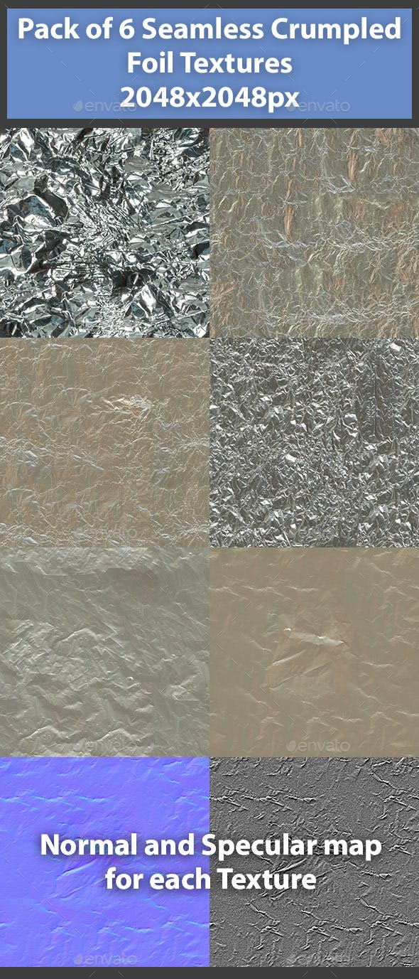 Pack of 6 Seamless Crumpled Foil Textures - 3DOcean Item for Sale