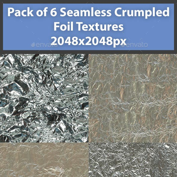 Pack of 6 Seamless Crumpled Foil Textures