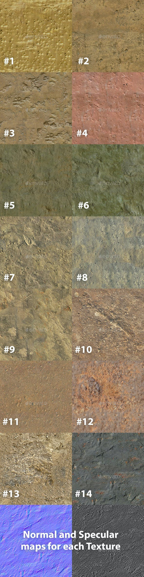 Set of 14 Seamless Bare Metal Textures - 3DOcean Item for Sale