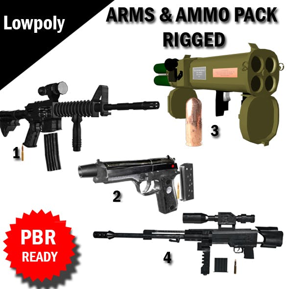 Arms and Ammunition Pack Rigged VR / AR / low-poly 3d model - 3DOcean Item for Sale