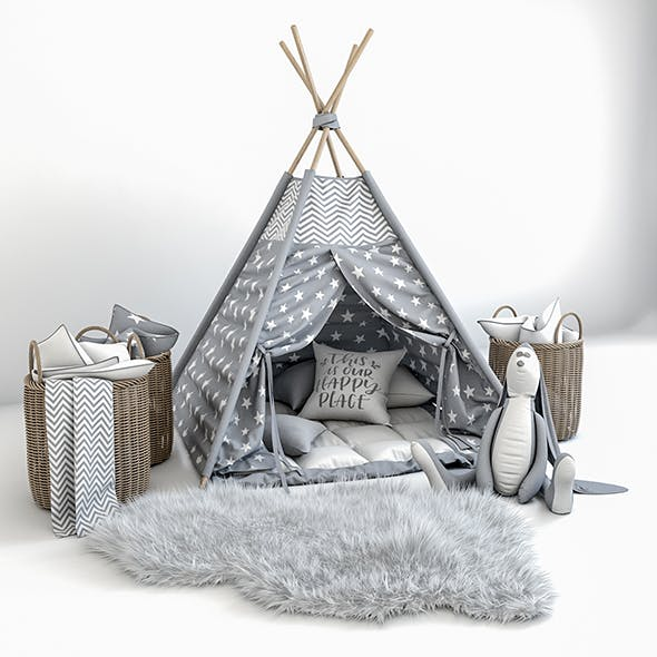 Decorative set for children -a teepee with a mattress, pillows, fur rug, baskets and a soft toy hare