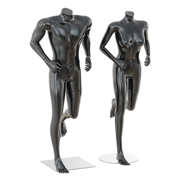 Running mannequin man and woman 36