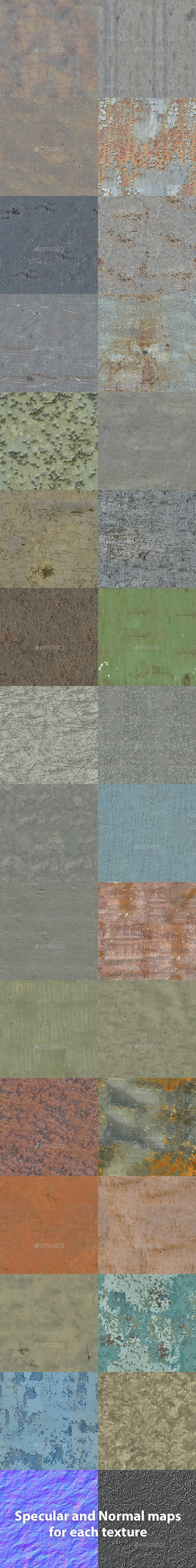 Set of 30 Various Bare Metal Textures - 3DOcean Item for Sale