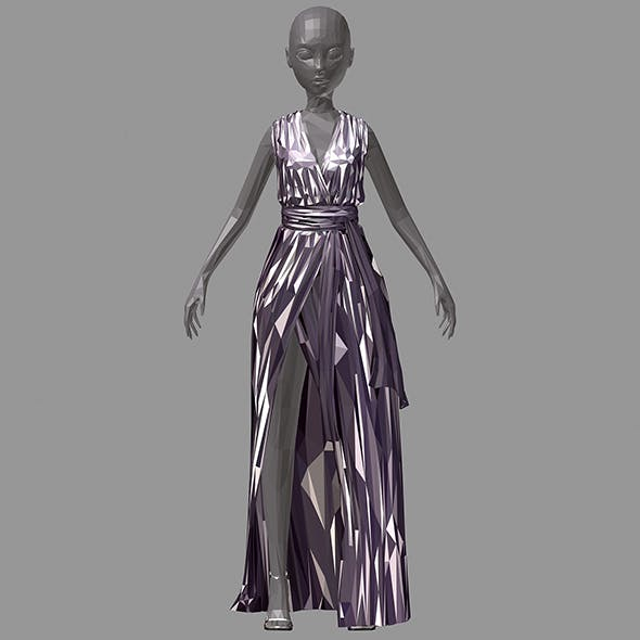 Women summer long black dress white dot high heel shoes - 3DOcean Item for Sale