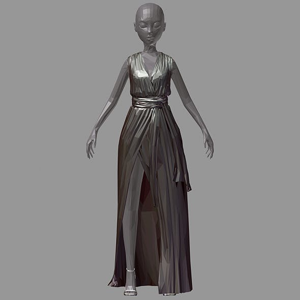 Women summer long black dress white high heel shoes - 3DOcean Item for Sale