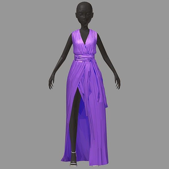 Women summer long lilac dress white high heel shoes