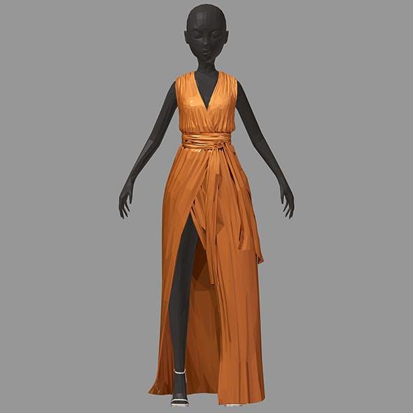 Women summer long orange dress white high heel shoes