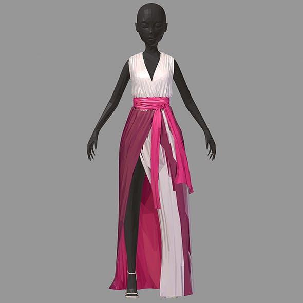 Women summer long pink dress white high heel shoes - 3DOcean Item for Sale