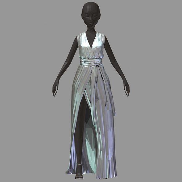 Women summer long silber dress black high heel shoes - 3DOcean Item for Sale