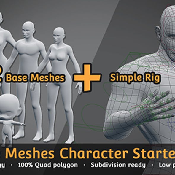 Base Meshes Character Starter Kit + Rig