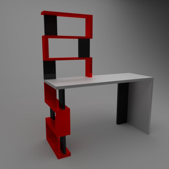 Table with Shelves Low-Poly