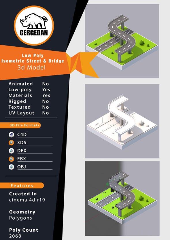 Low Poly Isometric Street & Bridge - 3DOcean Item for Sale