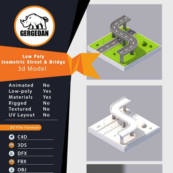 Low Poly Isometric Street & Bridge