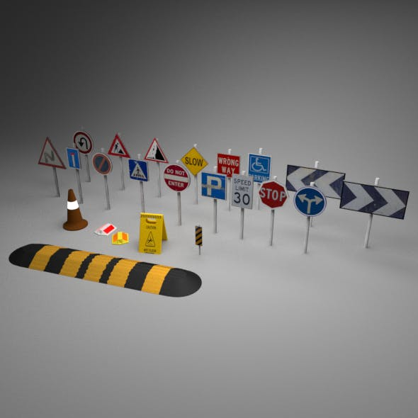 Big Traffic Signs Pack Low-Poly - 3DOcean Item for Sale