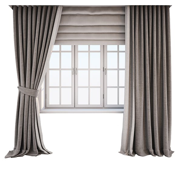 Two-tone beige-brown curtains in the floor straight and with a pickup, roman curtains and a window