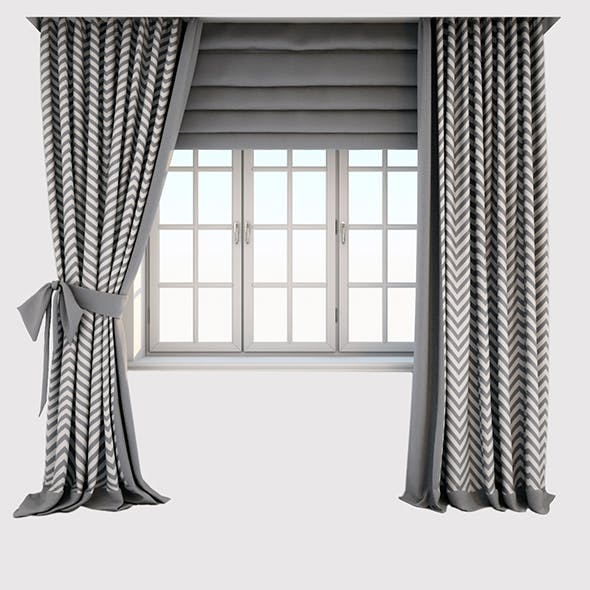 "Two-color gray-white curtains with ""zigzag"" print on the floor straight and with a bow"
