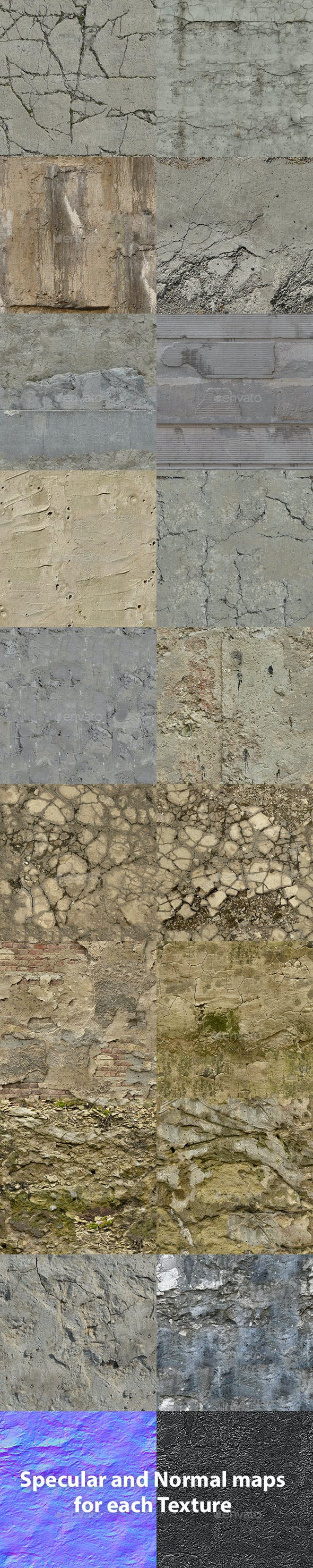 Set of 18 Seamless Damaged Concrete Textures - 3DOcean Item for Sale