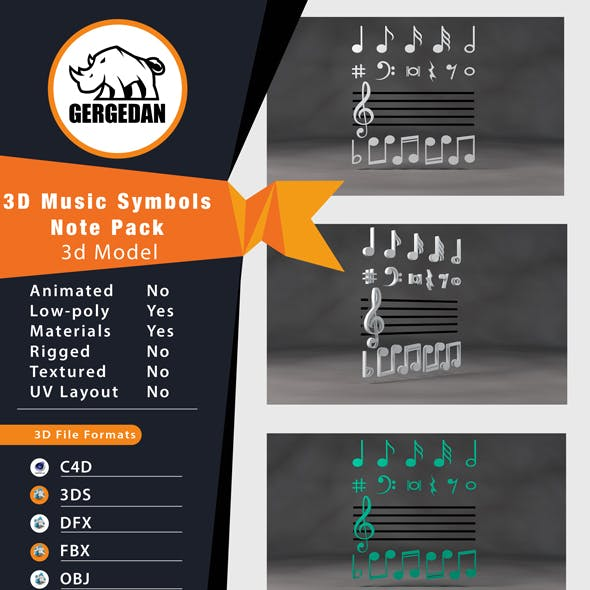 3D Music Symbols - Note Pack
