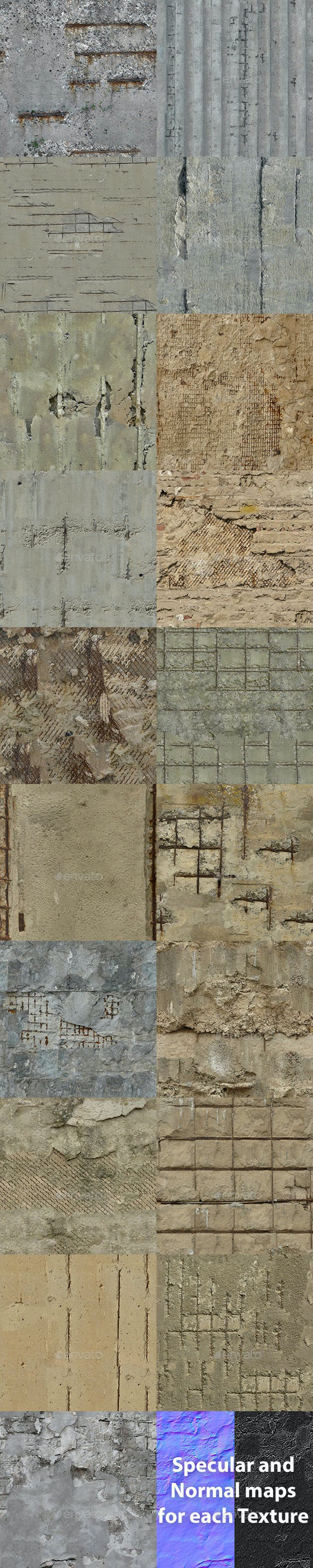 Set of 19 Seamless Damaged Concrete with Armature Textures - 3DOcean Item for Sale