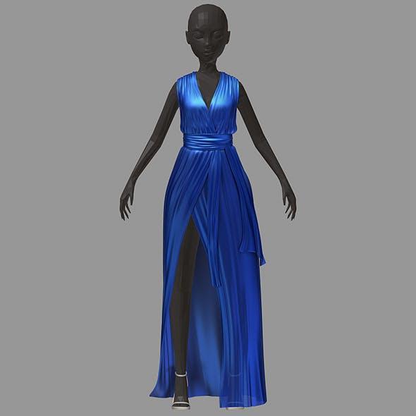 Women summer long blue dress white high heel shoes