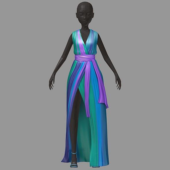 Women summer long colorful dress white high heel shoes