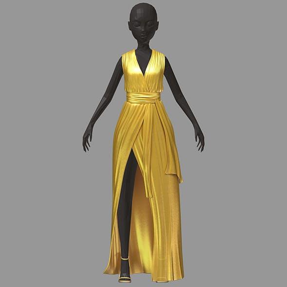 Women summer long gold dress black high heel shoes