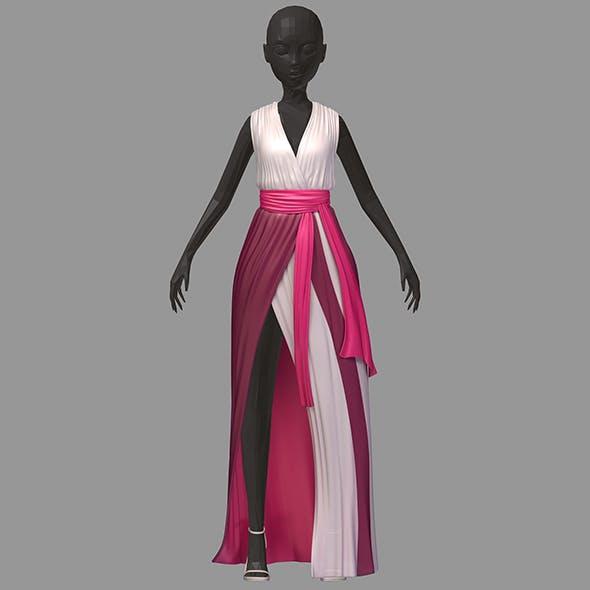 Women summer long pink dress white high heel shoes