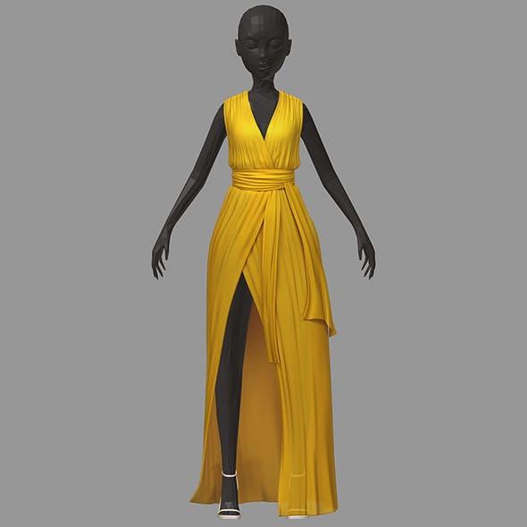 Women summer long yellow dress white high heel shoes
