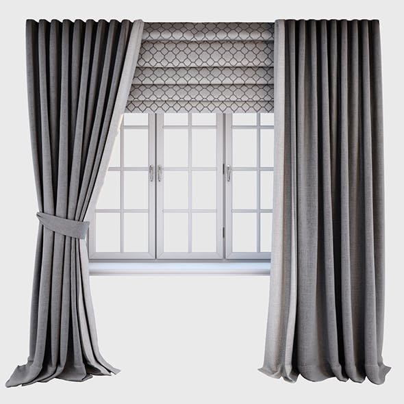 Grey curtains straight to the floor and catch it, a Roman blind with a quatrefoil pattern and the wi