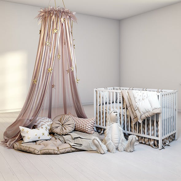 Cozy set for children with canopy, baby bed IKEA Gulliver and fluffy rabbit - 3DOcean Item for Sale