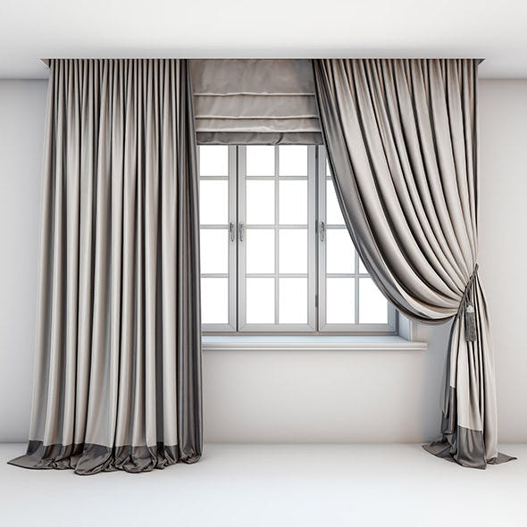 Two-color light curtains, Roman blind - 3DOcean Item for Sale