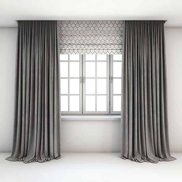 Two-tone grey curtains straight to the floor, Roman shades with a pattern of yarrow and the window