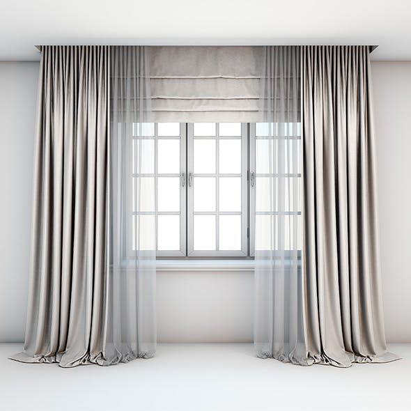 Light beige curtains straight to the floor with a tulle-trimmed Roman blinds and window layouts.