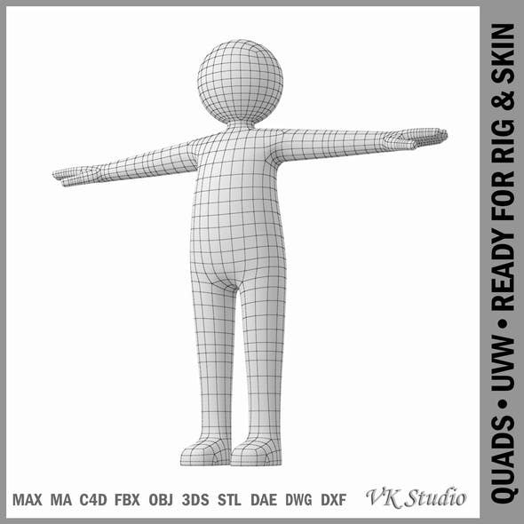 Adult Male Stickman in T-Pose Prepared for Rig