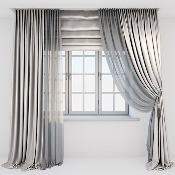 Light beige silk curtains on the floor straight and with a pick-up brush, tulle, Roman blind, window