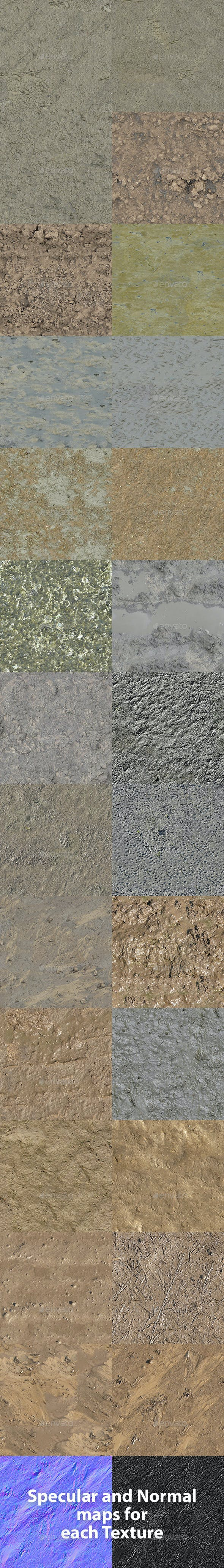 Set of 26 Seamless Mud Ground Textures Volume 1 - 3DOcean Item for Sale