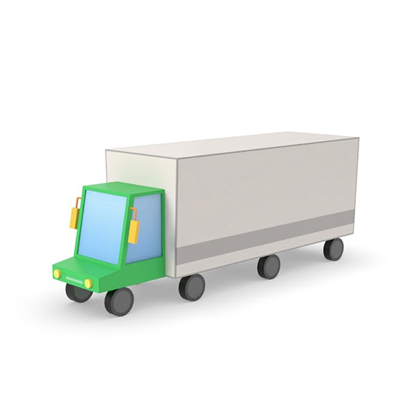 Truck lorry vehicle low poly simple cartoon