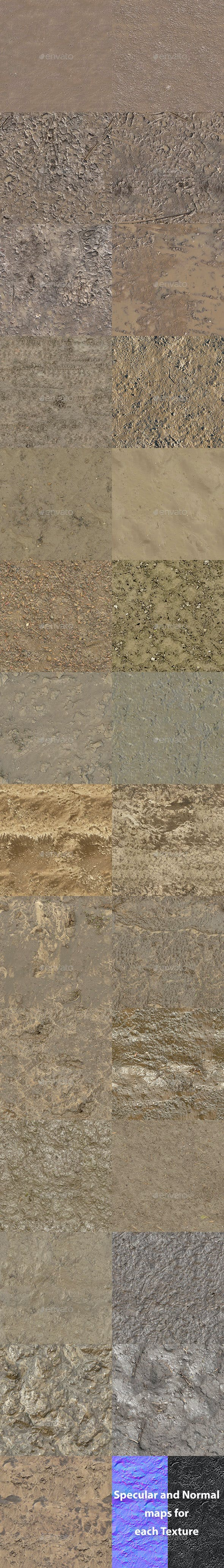 Set of 27 Seamless Mud Ground Textures Volume 2 - 3DOcean Item for Sale