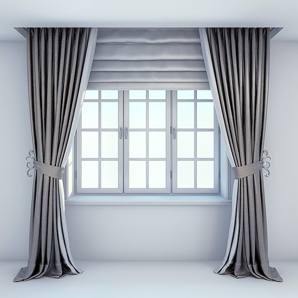 Simple straight contemporary curtains with roman blinds with window - 3DOcean Item for Sale