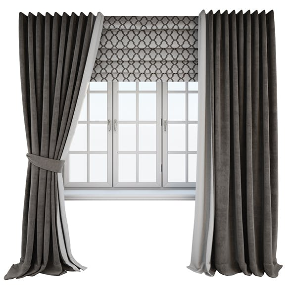 Dark brown floor-length curtains straight and with a tieback, Roman curtain with a geometric pattern