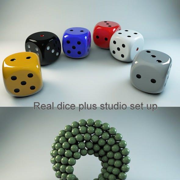 Real dice, Materials and studio scene