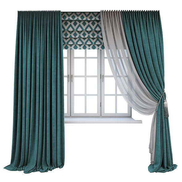 Turquoise curtains, a Roman shade with a geometric pattern and the window layouts