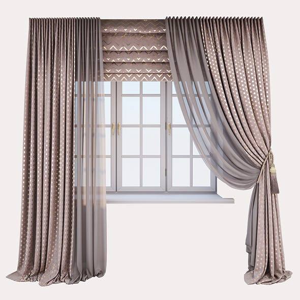 Pink velour curtains with a gold print in polka dots, Roman curtains with a geometric zigzag pattern