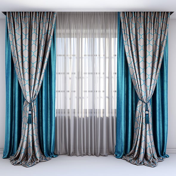 Straight blue velour curtains combined with satin gray curtains - 3DOcean Item for Sale
