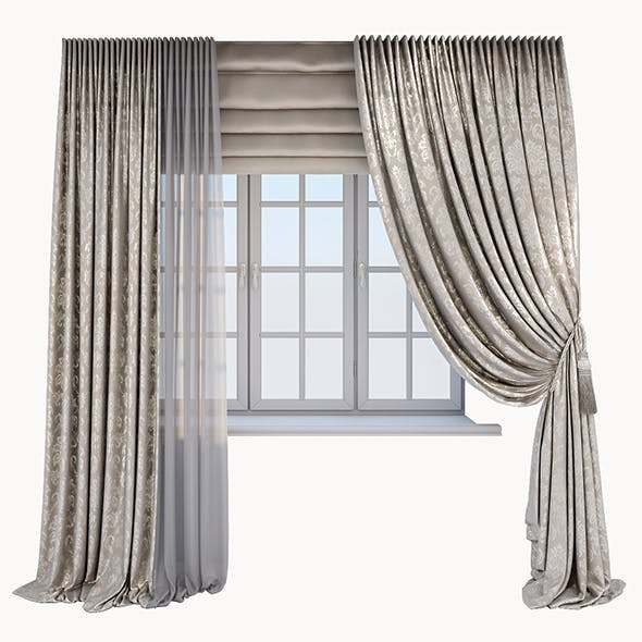 Classic beige curtain with a Damasc pattern, a Roman blind and window