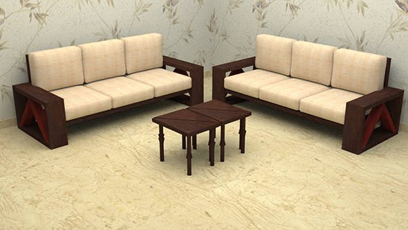 Traingle Tea - Coffee Table with Couch - 3DOcean Item for Sale