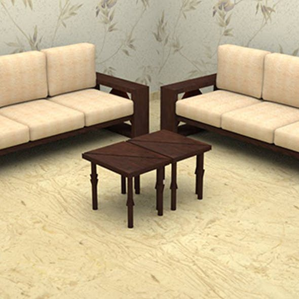 Traingle Tea - Coffee Table with Couch